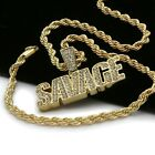 Mens 14k Gold Plated Savage Cz Hip Hop Pendant 4mm Rope Chain Necklace