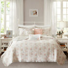 Shabby Chic Coral Floral Ruffles 6 pcs Quilt Cotton Coverlet Cal King Queen Set image
