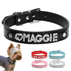 Bling Leather Personalized Rhinestone Letter Name Charm Pet Cat Dog Collar S M L