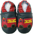 carozoo fire truck blue outdoor rubber sole leather shoes up to 4 years old