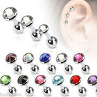 SEXY SURGICAL STEEL CARTILAGE BARBELL WITH FLAT TOP DISC GEM CZ BODY JEWELRY image