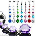 SEXY 316L SURGICAL STEEL ALLURE DANGLE NAVEL BELLY RING 5 ROUND CZ BODY JEWELRY image