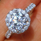 3.5Ct 14K White Gold Over Halo Diamond Anniversary Engagement Wedding Ring R3