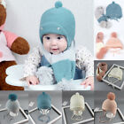 Внешний вид - Toddler Kids Girl&Boy Baby Winter Warm Earflap Crochet Knit Hat Beanie Cap Scarf