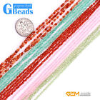 Natural Gemstone 2mm Faceted Round Spacer Seed Beads for Jewelry Making 15""