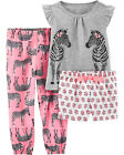 Внешний вид - NWT Carter's 3T 4T 5T 3 Piece Zebra Pajama Pjs Set Girls Sleep Carters NEW