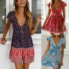 Boho Womens Summer V Neck Beach Dress Short Sleeve Floral Mini Party  Dress