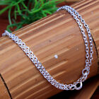 """Solid 925 Sterling Silver jewelry Unisex Link necklace silver chain 18, 20,22"""""""