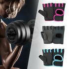 2PC Unisex Gym Non-Slip Half-Finger Gloves Fingerless with Breathable Wrist Wrap