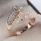 A1-R235 Leopard Wrap Ring 18KGP White/Rose Gold Plated Rhinestone Size 5.5-9