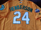 Oakland A's #24 Rickey Henderson Throwback Jersey yellow New Tag dual patch sewn on Ebay
