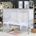 4 Corner Post Bed Canopy Mosquito Net Full Queen King Romantic White Bedding image