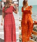 ZARA BLOGGERS RED FLORAL PRINT Ruffled FRILL SMOCK BOHO FLOWING MAXI LONG DRESS