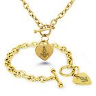 Stainless Steel Masonic Floral Compass Heart Charm Bracelet, Necklace, Set