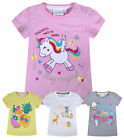 Baby Girls T-Shirt Unicorn Glitter Print Cotton Summer Tee Top Age 0 - 24 Months