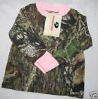 Mossy Oak Pink Camo Girls Shirt, Baby Toddler Kids Camouflage