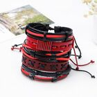 Vintage Leather Bracelets Set Men Women Punk Multilayer Braided Wristband Bangle