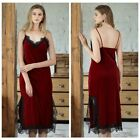 Ladies Velvet Lace Full Slip Dress V Neck Strap Slim Petticoat Sleepwear Retro