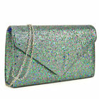 Women Frosted Polyester Evening Clutch Purse with Snap Magnetic Closure