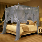 4 Corner Post Bed Canopy Mosquito Net Full Queen King Gray Netting Bedding+Frame image