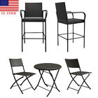 Garden Furniture Set 2pc Chair + 1pc Coffee Table Wicker Chair Set Brown Wicker