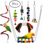 7Pcs Parrot Swing Bell Hanging Bird Cage Perch Toys Parakeet Cockatiel Budgie