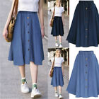 Women Button Denim Jeans Swing Skirt Ladies Elastic High Waist Beach  Skirt HL