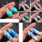 Turquoise Copper Turquoise Agate handmade earrings 925 sterling silver jewelry