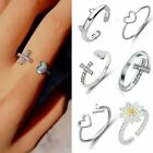 Silver Ocean Wave Flower Heart Hollow Fashion Ring Size 7 Women Lady Jewelry