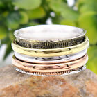 Meditation Spin Band Solid 925 Sterling Silver 3 Tone Designer Ring All Size