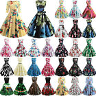 Womens 50s Floral Sleeveless Swing Skater Vintage Evening Party Rockabilly Dress