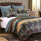 Greenland Home Black Bear Lodge Quilt, Decorative Pillows and Sham Set