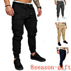 US Men Slim Fit Urban Straight Leg Casual Pencil Joggers Cargo Trousers Pants h8