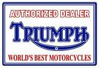VINTAGE ANTIQUE Style Metal Sign Triumph Dealer 18x30 $66.98 USD on eBay