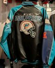 Officially Licensed NFL Men's Miami Dolphins Faux Leather Varsity Jacket