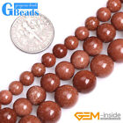 Smooth Round Brown Gold Sandstone Loose Beads for Jewelry Making DIY Strand 15""