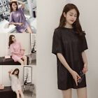 Women Metallic Glitter Blouse Pullover T Shirt Loose Shiny Short Sleeve Tops New