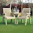 Barrowden Outdoor Wooden Garden Companion 2 Seat / Patio Furniture / Bench 1+1a