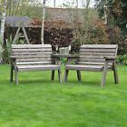Barrowden Outdoor Wooden Garden Companion 4 Seat / Patio Furniture / Bench 2+2a
