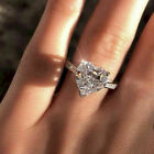 Women 925 Sterling Silver Ring Crystal Heart Shaped Rings Ladies Engagement Gift