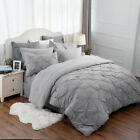 Bedsure 8pcs Comforter Set Full Queen Solid Gray Pinch Pleat Sheet Shams Bed Set image