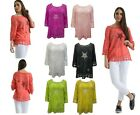 New Womens Ladies Lagenlook Star cotton embroided lace Tunic Blouse Top