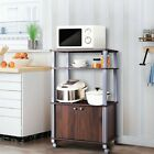 Home Bakers Rack Microwave Stand Rolling Kitchen Storage Cart Display Shelves US