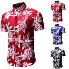 Shirt Men Short Sleeve Dress Shirts Summer Hawaii Casual Flower Shirt GIFT