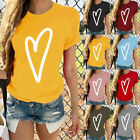 Women's Short Sleeve T-Shirt Heart Print Fashion Casual O-Neck Tops Blouse GIFT