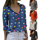 Women Blouse Classic V Neck Polka Dot Shirts Roll Up Sleeve Blouses Tops GIFT