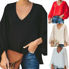 Women's Casual Sweet & Cute Loose Shirt Balloon Sleeve V-Neck Blouse Top h8