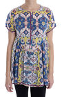 Johnny Was Printed Short Sleeve Women's Blouse Top Boho Chic New C10418
