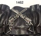 """Cowboy Old West SASS Arm Sleeve Garters in """"Saddle Brown w/Guns"""" Faux L.  1462"""
