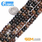 "Natural Brown Botswana Agate Rondelle Spacer Beads For Jewelry Making 15""Strand"